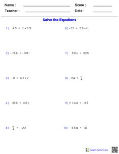 Word problems, Worksheets and One step equations on PinterestThese Pre-Algebra Worksheets allow you to produce unlimited numbers of dynamically created equations worksheets.