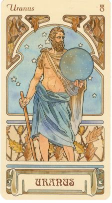 Uranus is the primal Greek god personifying the sky. His name in Roman mythology was Caelus.[2] In Ancient Greek literature, Uranus or Father Sky was the son and husband of Gaia, Mother Earth.