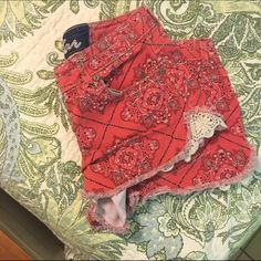 Jean shorts These are a Jean material but red with designs super cute with lace on both of the sides worn a few times do not fit anymore Vanilla star Shorts Jean Shorts