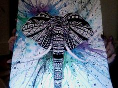 Water colour & ink Aztec/Tribal Elephant :) Artist Erin Sherrrington