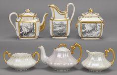 A Limoges Porcelain Grisaille Decorated Tea Set.