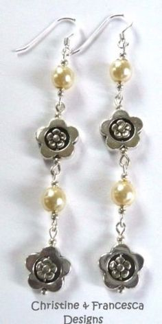 <3 3 colours to choose from ♥ This colour is CREAM IVORY <3 .925 Sterling Silver Glass Pearl & Large FLOWER Long Drop Earrings + Gift Box & Organza Gift Bag ~ by Christine & Francesca Designs