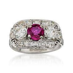 C.1990 Vintage Tiffany Jewelry Ruby Diamond Ring in Platinum