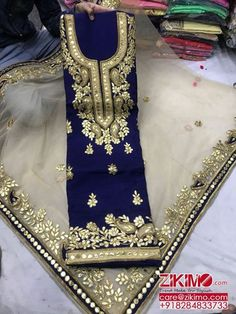 📌 hajra:::: blue dresses with gota patti work,this dress , available on different colours Pakistani Fashion Party Wear, Pakistani Wedding Outfits, Pakistani Dress Design, Pakistani Dresses, Indian Outfits, Indian Dresses, Indian Fashion, Blue Dresses, Punjabi Salwar Suits