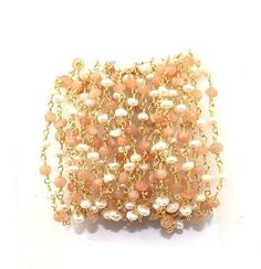 Wholesale Natural Peach MoonstonePearl Beaded Chain  24k