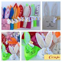 Aposte em lembranças fofas nesta Páscoa! Embalagem de coelho em feltro para mini ovinhos de chocolate.  Encomendas: admcereja@gmail.com