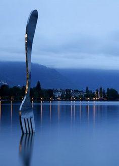 Giant fork sculpture