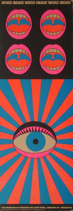 Poster by Japanese designer and artist Tadanori Yokoo, for the exhibition 'Word and Image' at the New York Museum of Modern Art in 1968, 124cm x 43.5cm