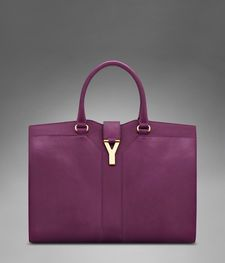 Large YSL Cabas Chyc in Black Cherry Leather