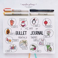 Masha ( a year of Bullet Journal monthly themes! Can't come up with a perfect theme for your Bullet Journal setup? Check out my extensive list of Bullet Journal Monthly Theme Ideas! Bullet Journal Inspo, Bullet Journal Monthly Log, Bullet Journal Doodles, Minimalist Bullet Journal, Bullet Journal August, Bullet Journal Cover Page, Bullet Journal Notebook, Bullet Journal Aesthetic, Bullet Journal Spread