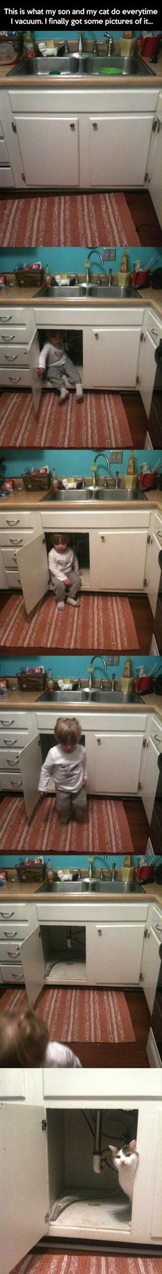 Hiding from the vacuum! - Funny Pictures Of The Day - 56 Pics