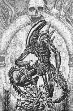 Alien Isolation, Alien Vs Predator, Alien Art, Xenomorph, Inktober, Horror, Magic Cat, Witch Spell, Halloween