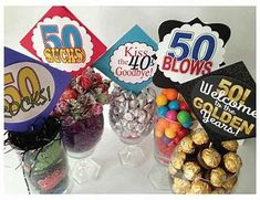 Image result for 50th Birthday Party Centerpiece Ideas