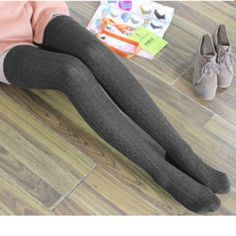 45485aae1af Dark Grey Thigh High Socks Cable knit cotton over the knee thigh high socks.  Length
