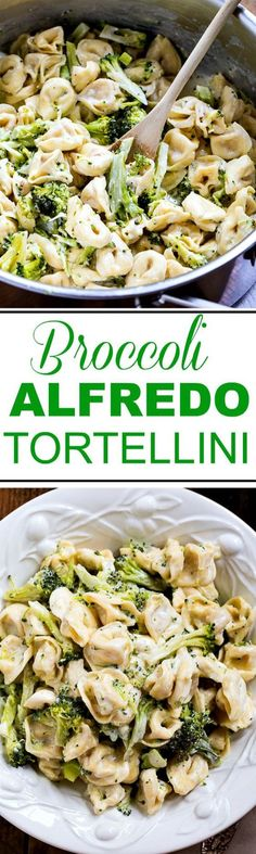 Broccoli Alfredo Tortellini 30 Minute Meal Recipe via Spicy Southern Kitchen - just a few simple ingredients and this meal is on the table is less than 30 minutes! - The BEST 30 Minute Meals Recipes - Easy, Quick and Delicious Family Friendly Lunch and Dinner Ideas