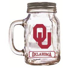 16Oz Mason Jar Oklahoma Sooners