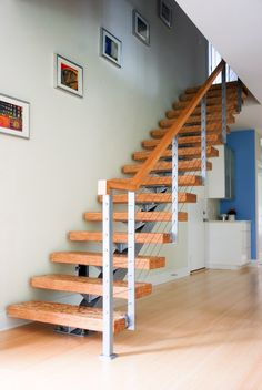 wood stairs and photo placement