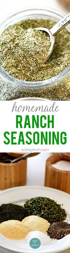 Homemade Ranch Seasoning Mix - Homemade ranch seasoning makes a great seasoning to keep on hand for ranch dressing, dips, chips, and more! // addapinch.com