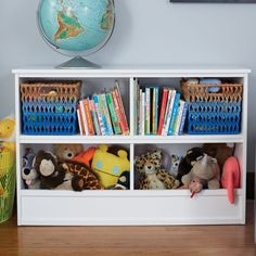 "In white or grey for entry of playroom 32"" Horizon Bookcase With Bins (white) 