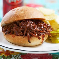 Slow-Cooker BBQ Shredded Beef Sandwiches