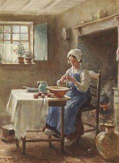 Preparing the Mid-day Meal ~ William Kay Blacklock ~ (English: 1872-1924)
