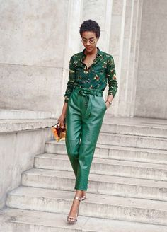 elegant green monochrome outfit with lace blouse and green pants