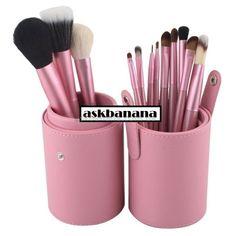 Набор 12 проф кистей для макияжа в стильном черном чехле тубусе
