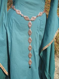 Medieval and Renaissance Girdle Belt With Ornate Copper Links and Faceted Jet Ornament.