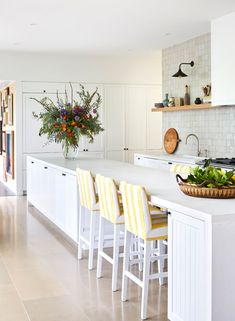 Anna Spiro Design - white kitchen, custom barstools