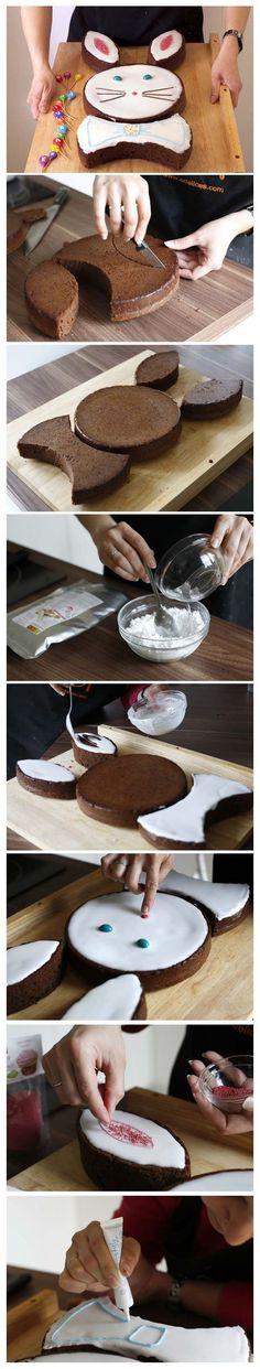 Gâteau Lapin de Pâques au chocolat - DIY - Tutoriel photo technique étapes en pas à pas - Recettes de cuisine Ôdélices: