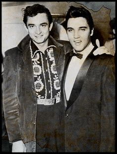 Photo of Johnny Cash & Elvis for fans of Johnny Cash. a photo of Johnny Cash and Elvis Presley Country Music, Country Singers, Rock And Roll, Montreux Jazz Festival, Johnny And June, Photo Vintage, Kino Film, Grand Ole Opry, Priscilla Presley