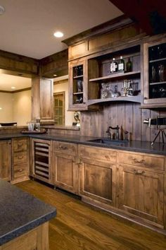 116 Stunning Modern Rustic Farmhouse Kitchen Cabinets Ideas - Page 8 of 117 Kitchen Interior, Rustic Kitchen Island, Rustic Kitchen Cabinets, Farmhouse Kitchen Cabinets, Home Kitchens, Kitchen Style, Kitchen Renovation, Kitchen Cabinets Makeover, Kitchen Design