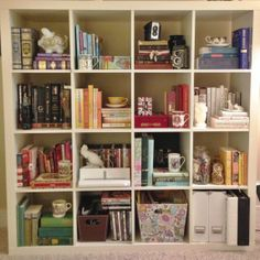 ikea expedit bookcase. styled by color.