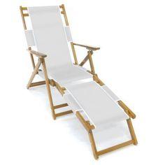Frankford Umbrella Commercial Oak Wood Beach Chairs White - FC101NF-WHA