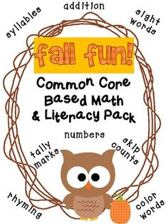 Fall Fun Math and Literacy Games Grades 1-2