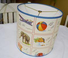 Nursery lamp shade alphabet vintage children's by lightreading, $38.00