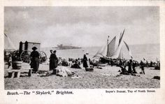 "Brighton beach with bathing machines and the ""Skylark"", owned by Captain Collins (posted August Brighton Sea, Brighton Sussex, Brighton And Hove, Skylark, Old Photos, Bathing, Past, England, Live"