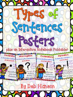 Four Types of Sentences Posters and Interactive Notebook Entries- FREE!