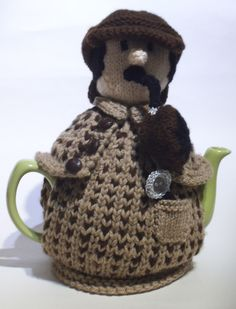 Sherlock Holmes Tea Cosy knitting pattern from TeaCosyFolk https://www.etsy.com/uk/listing/211085016/sherlock-holmes-tea-cosy-knitting?
