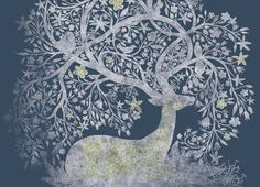 dreamdeer  love how the antlers become tree or plantlike and can this be used for tree of life idea.