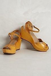 Anthropologie Scotch Bonnet Peep-Toes by 67 Collection Dark Yellow 39 EURO Women's Wedge