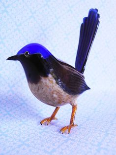 Jenni's beads: A Glass Blue Wren - From Venice By Vittorio Costantini
