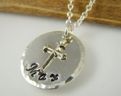 Personalized Boy Baptism Cross Necklace, Baptism Name Necklace for Boys , Baptism Gifts for Boys by Shiny Little Blessings on Etsy. 925 Sterling Silver.