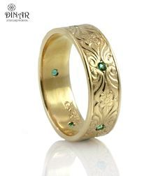 14k gold Vintage 7mm Wedding Band ,Engraved Floral pattern , hand engraved wedding ring, thick men women Vintage gold band set with emerald by DINARjewelry on Etsy https://www.etsy.com/listing/158992405/14k-gold-vintage-7mm-wedding-band