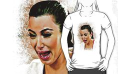 Kim Kardashian Ugly Crying Face Painting image T-Shirt man, woman and kids