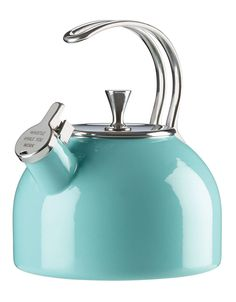 kate spade new york all in good taste Tea Kettle With its pop of color and merry whistle while you work message on the spout, this qt. whistling tea kettle from kate spade new york adds an upbeat note to any kitchen. Kate Spade New York, Azul Tiffany, Cafetiere, Stainless Steel Wire, Kitchen Collection, Black Box, Organizer, Kitchen Gadgets, Kitchen Items