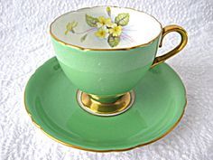 Shelley Green Cup And Saucer Primrose Ripon Shape Burnished Gold Trim