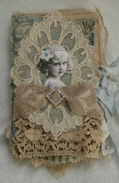 Mixed Media Fabric Collage Book of Vintage Girls | eBay