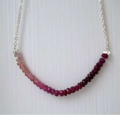 Gradient Gemstone Necklaces - The Pink Sapphire Necklace by Pearl Amour Jewels is Gorgeous
