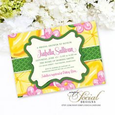Preppy Lemon Pink Green and Yellow Designer Inspired Printable Bridal Shower Baby Shower Invitation